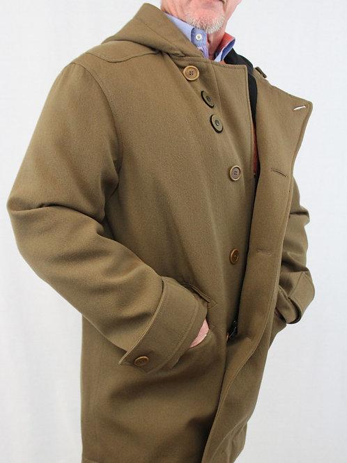Prada Outerwear Saddle Wool/Cotton Zip & Button Front w/Hood 42 Regular