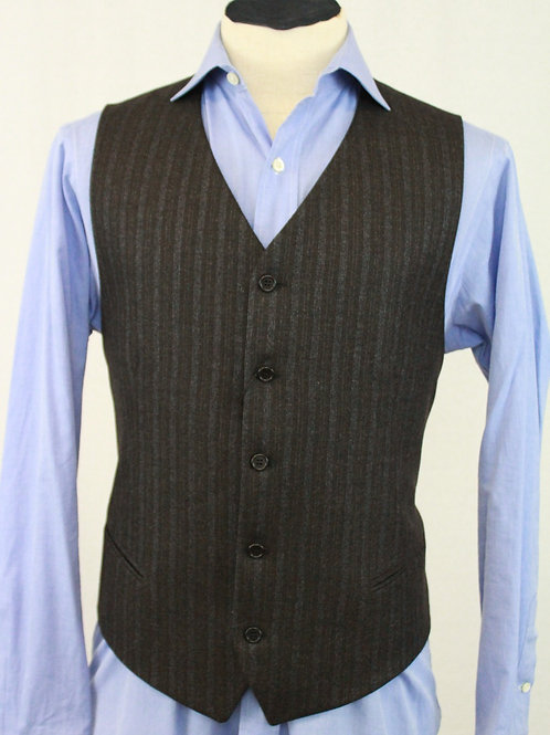 Mabro Uomo, Charcoal,130's Wool w/Blue Stripes
