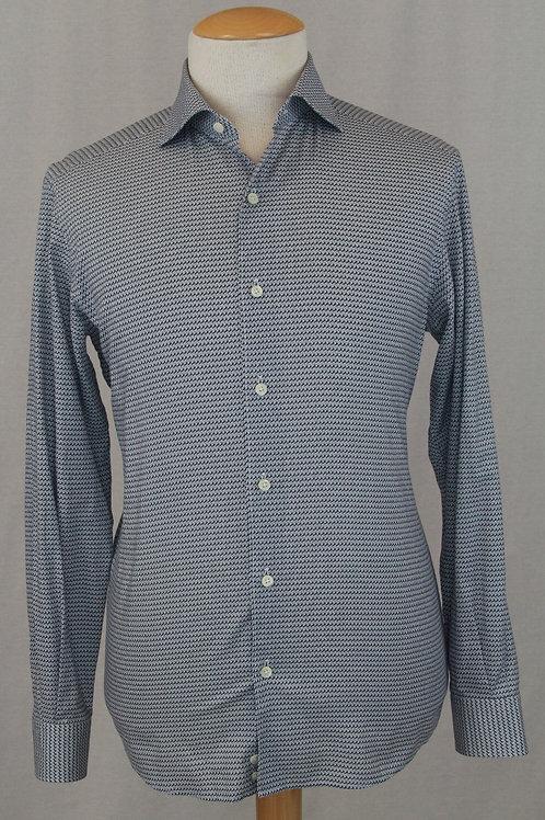 Ermenegildo Zegna Blue Shirt w/Mini Abstract Design Large