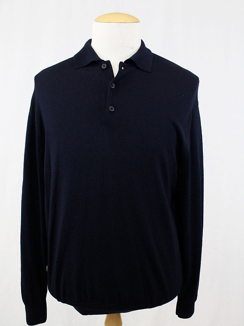 Giorgiolini Navy Long Sleeve 3 Button Pullover XL