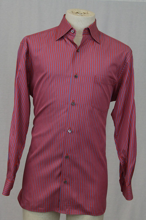 Ermenegildo Zegna, Red, Long Sleeve w/Red & Blue Stripes, Large