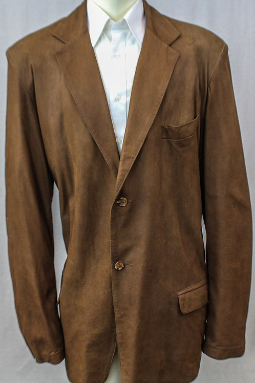 Remy Saddle Suede Jacket Button Front 48 Long