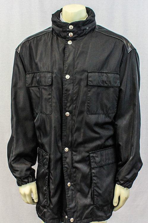 Prada Black Outerwear Nylon Jacket w/Leather Trim XL
