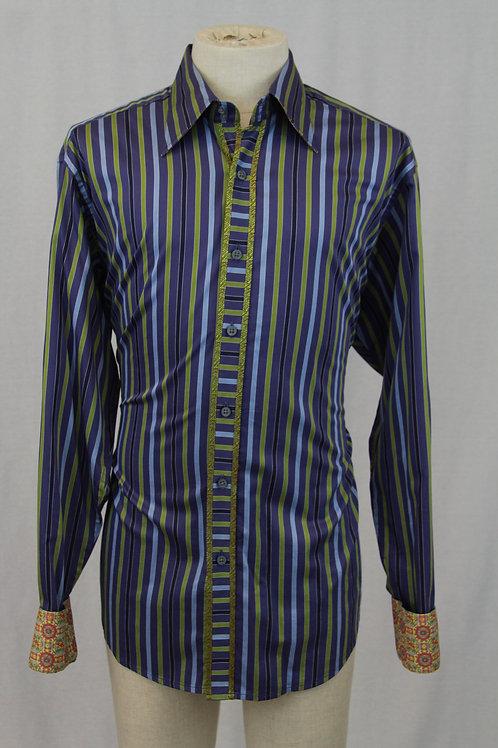 Robert Graham Blue w/Green Vertical Stripes XLT