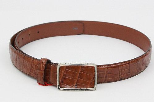 Brighton Brown Leather Belt w/Alligator Print 40