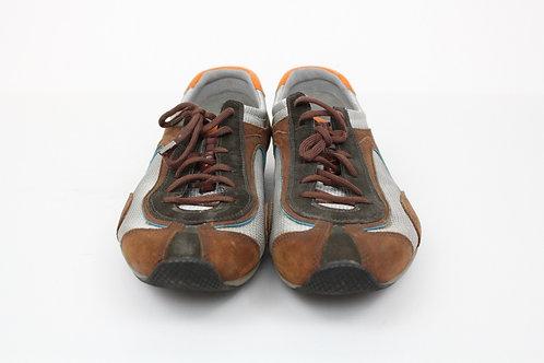 Prada Brown Sneakers Suede w/Mesh Trim 12