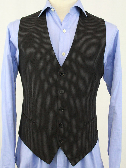 Mabro Uomo Black Wool Vest w/Grey Dots 42 Regular