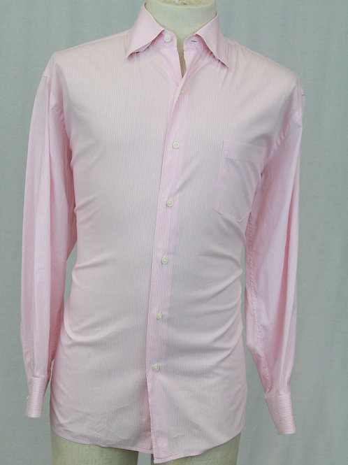 Ermenegildo Zegna Shirt Pink w/White Stripes Large