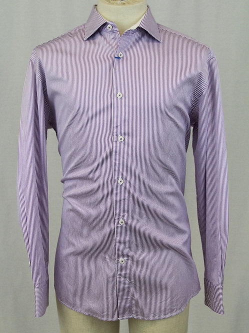 Bugatchi Lavender Shirt w/White Stripes XL