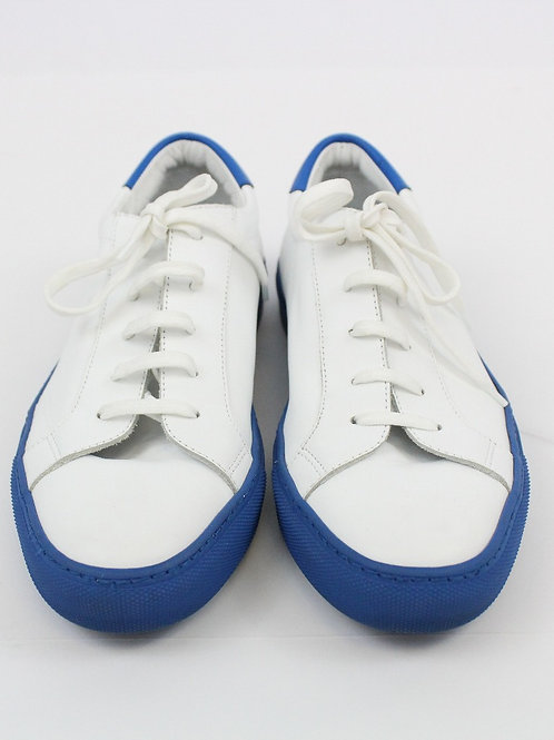 Grenson White Leather Sneaker w/Blue Trim 9.5
