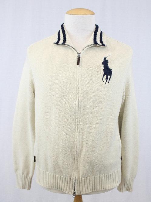 Ralph Lauren, Cream, Cardigan w/Zip Front XL