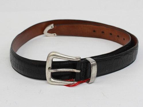 Trafalgar Black Leather Belt w/Chrome Buckle 36