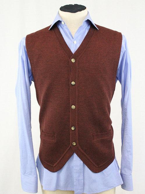 Belford Men Brick Wool Vest 5 Button Front Large
