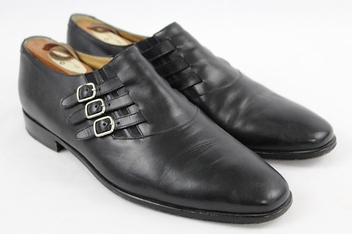Gianfranco Ferre Black Narrow Monk Strap Plain Toe 12