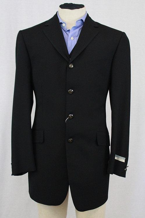 Pal Zileri Black Wool w/Vest 40 Regular Pant: 32 x 34