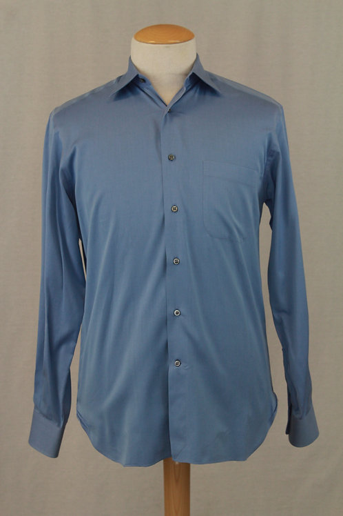 Ermenegildo Zegna, Blue, Long Sleeve, Solid, 15.5 x 35