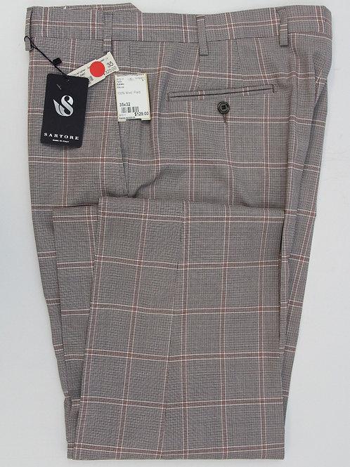 Satore Mauve Wool, Plain Front Glen Plaid 35 x 32
