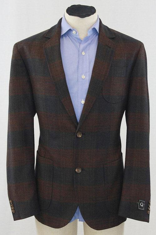 Flynt Blue, 100% Wool, Muted Burgundy/Blue Plaid 44 Regular