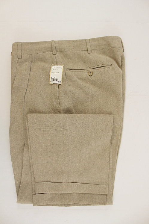 Barney's New York Tan Linen/Silk Blend Pleated Front