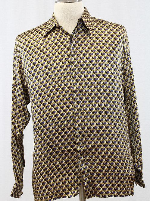 Creme De Silk Gold Long Sleeve 100% Silk, Medal on Design Small