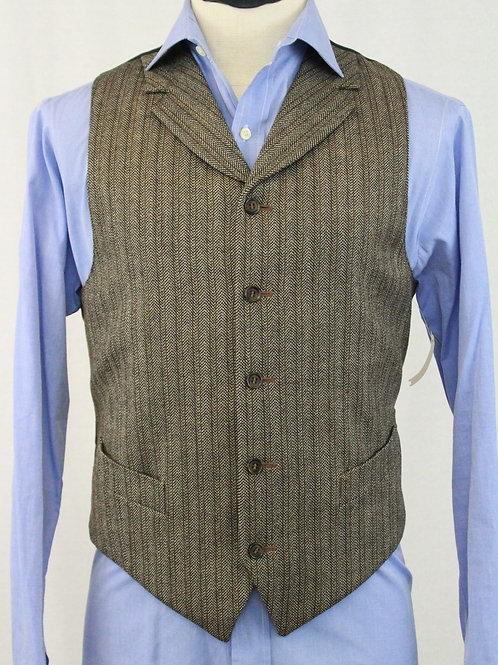 Corbin Brown Wool Vest w/Lapel 42 Regular