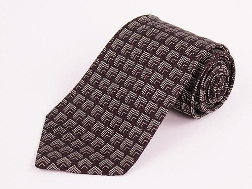 Ralph Lauren Tie Cranberry 100% Silk w/Cream Dots Pattern