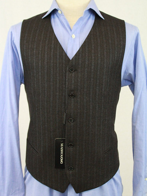 Mabro Uomo Charcoal Wool Vest w/Muted Blue Stripes 42 Regular