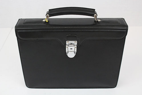 Gerard Henon Black Leather Briefcase Made in France