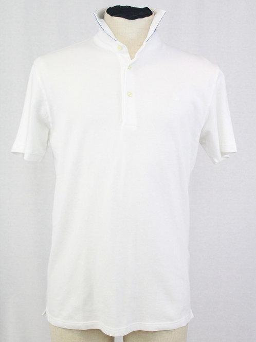 Gran Sasso White 3 Button Pullover Short Sleeve Small