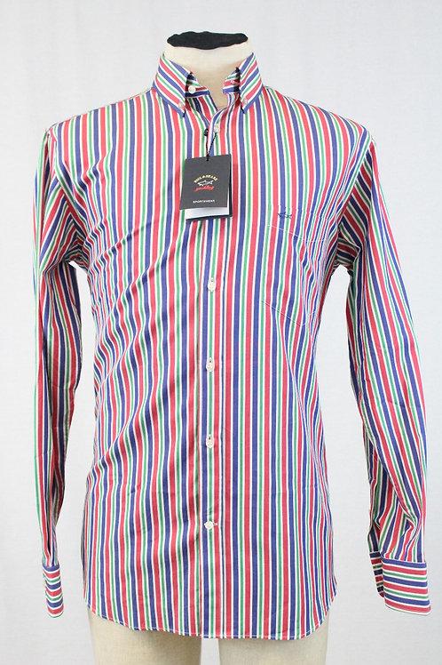 Paul & Shark, Long Sleeve w/Blue, Green & Red Stripes, Medium
