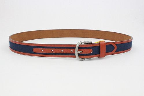 Neiman Marcus Navy Linen w/Leather Trim