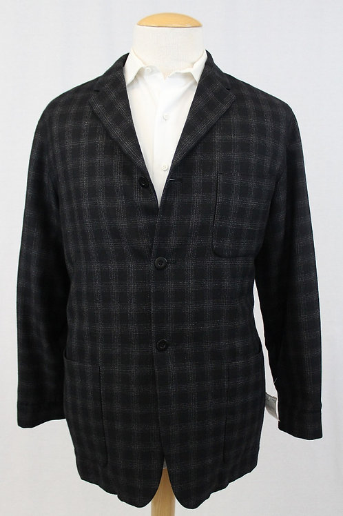 Bernard Zins Black w/Grey Windowpane Wool 44 Regular