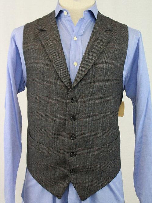 Corbin Grey Wool Vest Glen Plaid w/Lapels 42 Regular