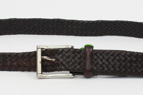 Trafalgar Brown Leather Woven Belt 38