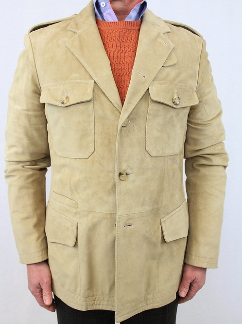 Gucci Tan Suede Jacket w/5 Button Front 40 Regular