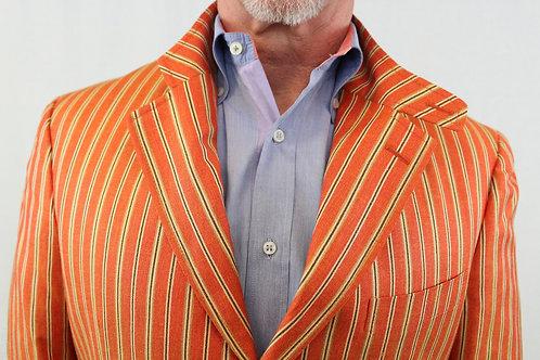Etro Tangerine Sport Coat Silk/Linen Blend w/Tan & Black Stripes **NEW w/TAGS**