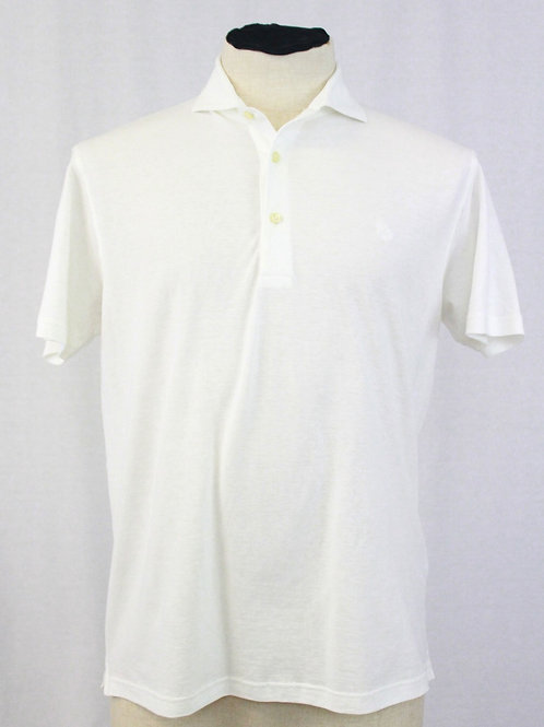 Gran Sasso White 3 Button Pullover Short Sleeve Small