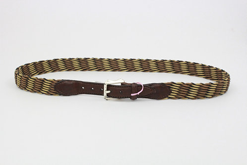 No Brand Brown Braided Belt w/Leather Trim 40