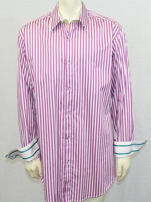 Robert Graham, White w/Purple Stripes, X-Large Tall