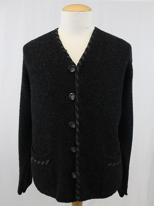 Dolce & Gabbana Black Button Front Cardigan w/Suede Trim Large