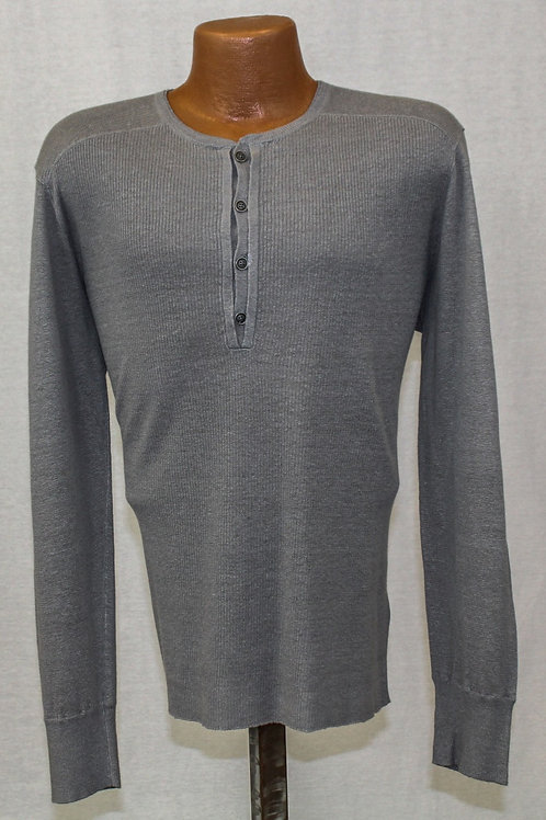John Varvatos Charcoal 100% Linen 4 Button Pullover