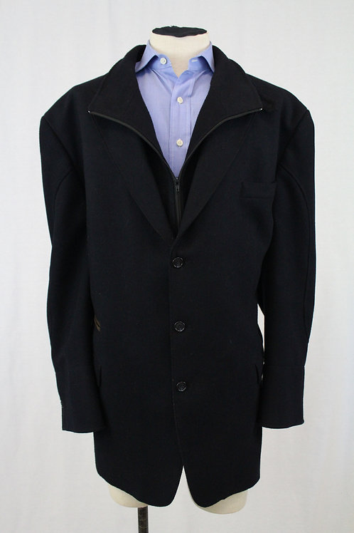 Synrgy Navy 3 Button Front & Zip Double Collar
