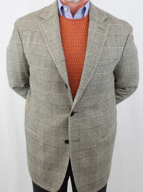 Etro Light Grey Cashmere 3 Button Glen Plaid 42 Regular