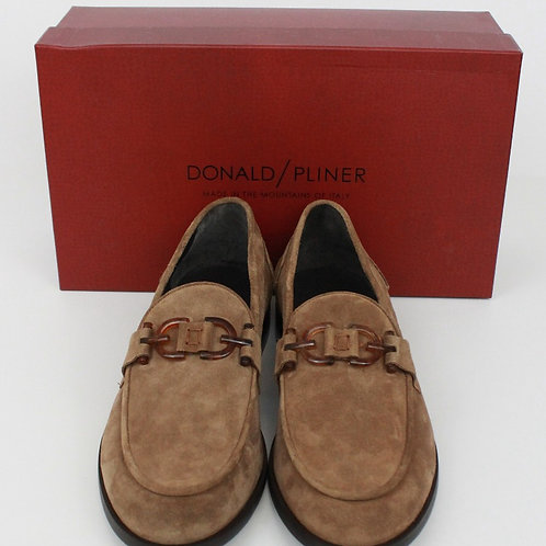 Donald Pliner, Tan, Suede Loafer w/Tortise Shell Buckle, 12