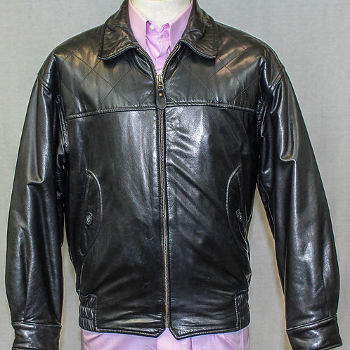 Valentino Leather Bomber Jacket w/Zip Front Small