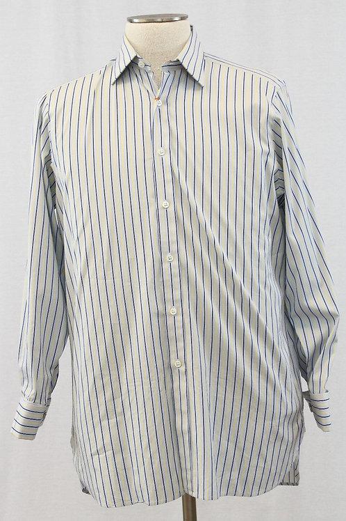 Hilditch & Key, Lt. Blue w/Navy & Yellow Stripes, 15.5 x 34