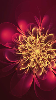 Fractal Abstract Flower Shape Red Amaranth Cyclamen Colors And Glare