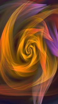 Abstract Ethereal Yellow Orange Purple Swirl Surreal Colors