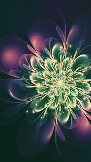Fractal Abstract Flower Shape Purple Green Cyan Colors And Glare