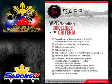 Gamefowl Affiliates of Pitmasters Philippines Wingbanding Reminders (May 31, 2020)